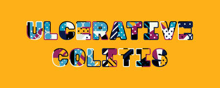 The words ULCERATIVE COLITIS concept written in colorful abstract typography. Illustration