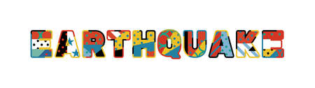 The word EARTHQUAKE concept written in colorful abstract typography. 向量圖像