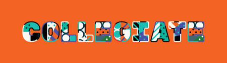 The word COLLEGIATE concept written in colorful abstract typography. Çizim