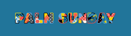 The words PALM SUNDAY concept written in colorful abstract typography.