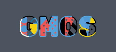 The word GMOS concept written in colorful abstract typography. Иллюстрация
