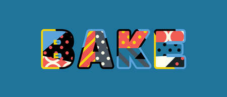 The word BAKE concept written in colorful abstract typography.