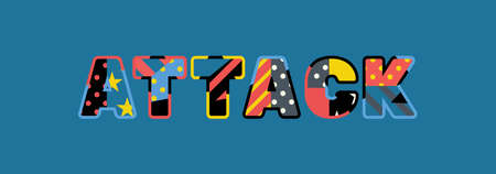 The word ATTACK concept written in colorful abstract typography.