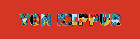 The words YOM KIPPUR concept written in colorful abstract typography. Vector Illustration