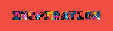 The word INSPIRATION concept written in colorful abstract typography.