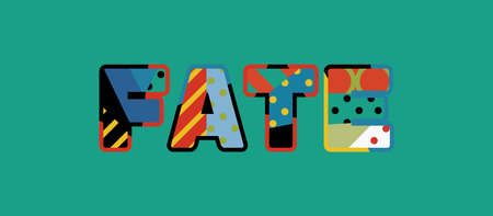 The word FATE concept written in colorful abstract typography.
