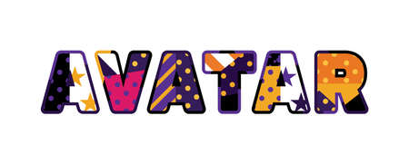 The word AVATAR concept written in colorful abstract typography. Ilustração