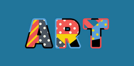 The word ART concept written in colorful abstract typography. Ilustração