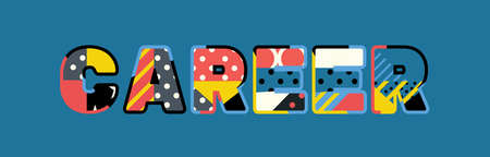 The word CAREER concept written in colorful abstract typography.