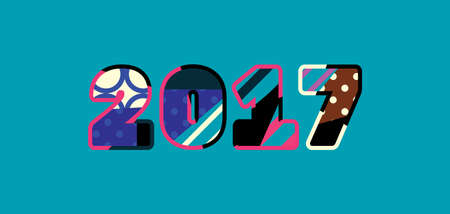 The year 2017 concept written in colorful abstract typography. Illustration
