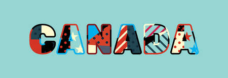 The word CANADA concept written in colorful abstract typography. Illustration