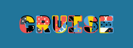 The word CRUISE concept written in colorful abstract typography. Stock Illustratie