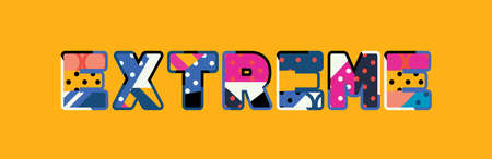 The word EXTREME concept written in colorful abstract typography.  イラスト・ベクター素材