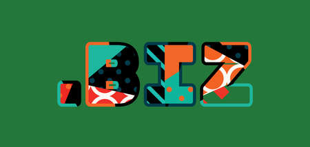 The words DOT BIZ concept written in colorful abstract typography. Vector EPS 10 available.