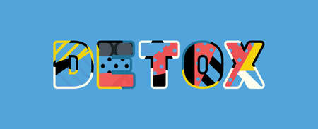 The word DETOX concept written in colorful abstract typography.