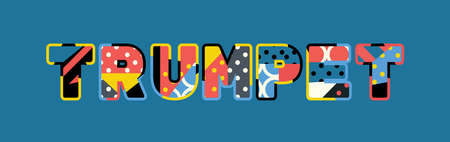 The word TRUMPET concept written in colorful abstract typography.