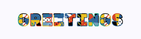 The word GREETINGS concept written in colorful abstract typography.