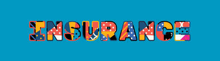 The word INSURANCE concept written in colorful abstract typography. Ilustração