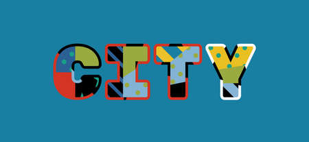 The word CITY concept written in colorful abstract typography.
