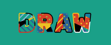 The word DRAW concept written in colorful abstract typography. Illustration