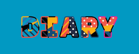 The word DIARY concept written in colorful abstract typography.