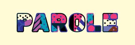 La parola PAROLE concetto scritto in una colorata tipografia astratta.