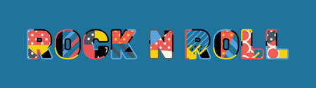 The words ROCK N ROLL concept written in colorful abstract typography.