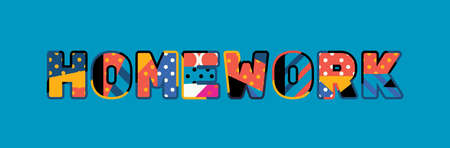 The word HOMEWORK concept written in colorful abstract typography. 일러스트
