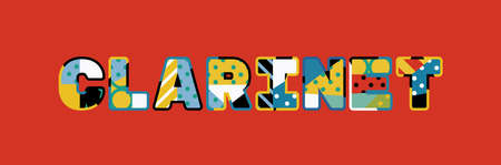The word CLARINET concept written in colorful abstract typography.