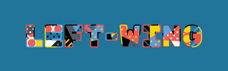 The word LEFT-WING concept written in colorful abstract typography.