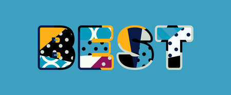 The word BEST concept written in colorful abstract typography.