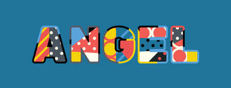 The word ANGEL concept written in colorful abstract typography.
