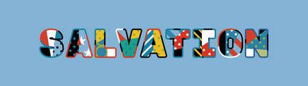 La parola SALVEZZA concetto scritto in una colorata tipografia astratta. Vettoriali