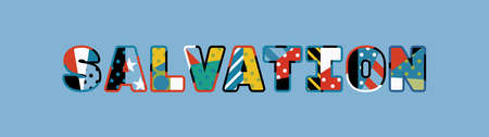 The word SALVATION concept written in colorful abstract typography. Ilustração