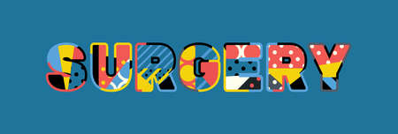 The word SURGERY concept written in colorful abstract typography. Illustration