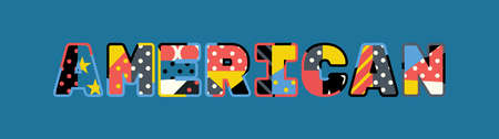 The word AMERICAN concept written in colorful abstract typography. Illustration