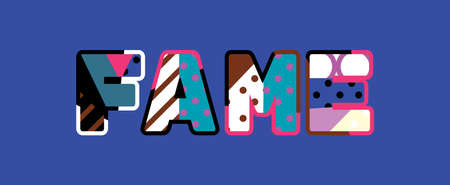 The word FAME concept written in colorful abstract typography.