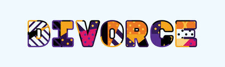 The word DIVORCE concept written in colorful abstract typography.