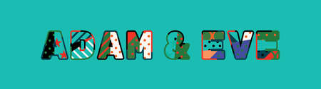 The names ADAM & EVE concept written in colorful abstract typography. Vector EPS 10 available. Illustration