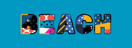 The word BEACH concept written in colorful abstract typography. Illustration