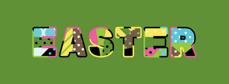 The word EASTER concept written in colorful abstract typography.