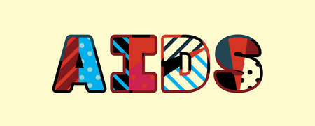 The word AIDS concept written in colorful abstract typography.