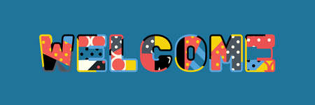 The word WELCOME concept written in colorful abstract typography.  イラスト・ベクター素材