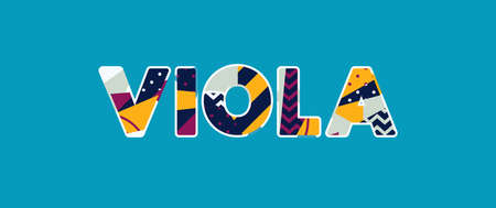 The word VIOLA concept written in colorful abstract typography.