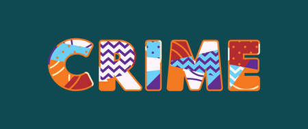The word CRIME concept written in colorful abstract typography.