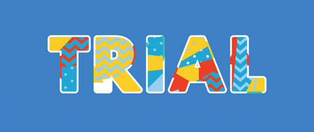 The word TRIAL concept written in colorful abstract typography. Çizim