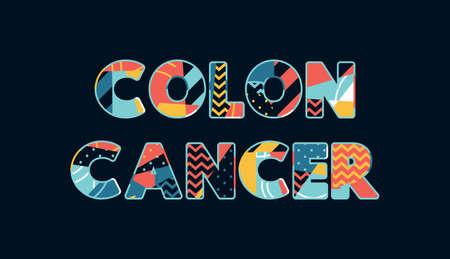 El concepto de CÁNCER de COLON de la palabra escrito en tipografía abstracta colorida.