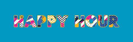 El concepto de HAPPY HOUR de palabras escrito en tipografía abstracta colorida.