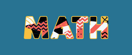 The word MATH concept written in colorful abstract typography.