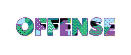 The word OFFENSE concept written in colorful abstract typography. Vector EPS 10 available.